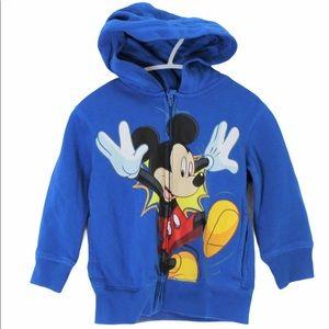 DISNEY Mickey Mouse Full Zip Hoodie Blue 3T